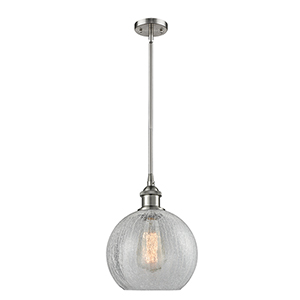 Athens Brushed Satin Nickel Eight-Inch One-Light Mini Pendant with Clear Crackle Globe Sphere Glass