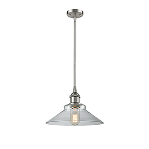 Disc Brushed Satin Nickel 10-Inch LED Pendant with Clear Cone Glass