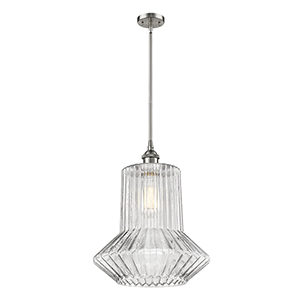Springwater Brushed Satin Nickel 12-Inch One-Light Pendant with Clear Crystal Novelty Glass