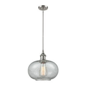 Gorham Brushed Satin Nickel LED Hang Straight Swivel Mini Pendant with Seedy Glass