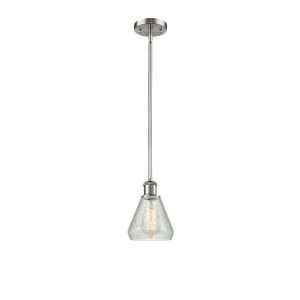 Conesus Brushed Satin Nickel One-Light Hang Straight Swivel Mini Pendant with Clear Crackle Glass