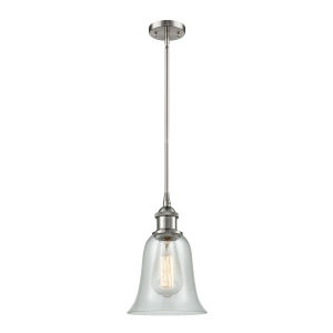 Hanover Brushed Satin Nickel One-Light Hang Straight Swivel Mini Pendant with Fishnet Glass