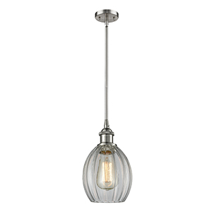 Eaton Brushed Satin Nickel Six-Inch One-Light Mini Pendant with Clear Fluted Sphere Glass
