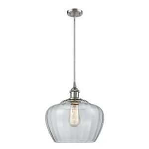 Large Fenton Brushed Satin Nickel One-Light Pendant with Clear Glass