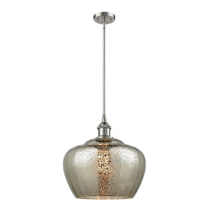 Large Fenton Brushed Satin Nickel LED Pendant with Mercury Glass