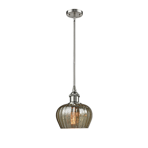 Fenton Brushed Satin Nickel Seven-Inch LED Mini Pendant with Mercury Fluted Sphere Glass