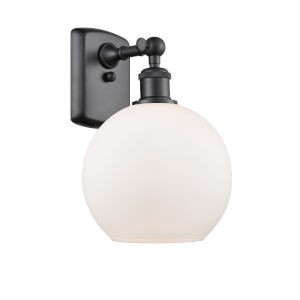 Ballston Matte Black Eight-Inch LED Wall Sconce with Matte White Glass Shade