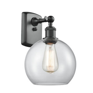 Ballston Matte Black Eight-Inch LED Wall Sconce with Clear Athens Shade