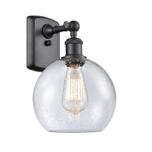 Ballston Matte Black Eight-Inch One-Light Wall Sconce with Seedy Glass Shade