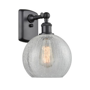 Ballston Matte Black Eight-Inch One-Light Wall Sconce with Clear Crackle Glass Shade