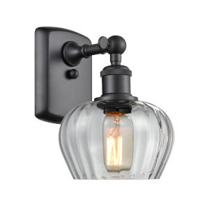 Fenton Matte Black One-Light Wall Sconce with Clear Glass