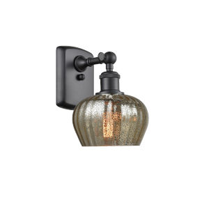Fenton Matte Black LED Wall Sconce with Mercury Glass