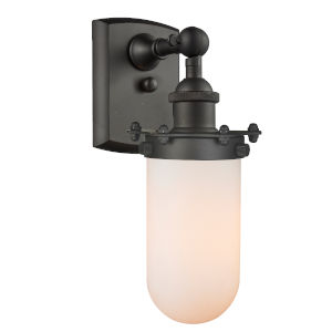 Kingsbury Oil Rubbed Bronze LED Wall Sconce with Matte White Cased Glass