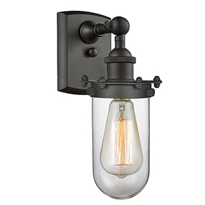 Kingsbury Oiled Rubbed Bronze One-Light Wall Sconce with Clear Globe Glass
