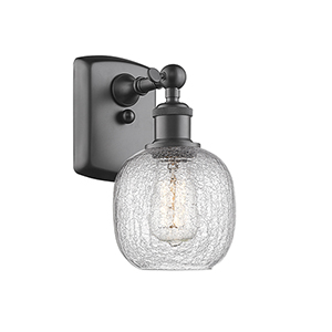 Belfast Oiled Rubbed Bronze LED Wall Sconce with Clear Crackle Sphere Glass