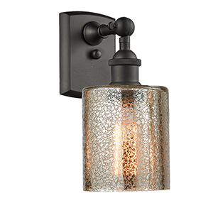 Cobbleskill Oiled Rubbed Bronze One-Light Wall Sconce with Mercury Drum Glass