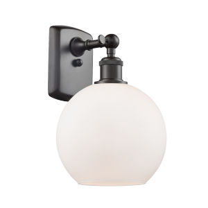 Ballston Oil Rubbed Bronze Eight-Inch One-Light Wall Sconce with Matte White Glass Shade