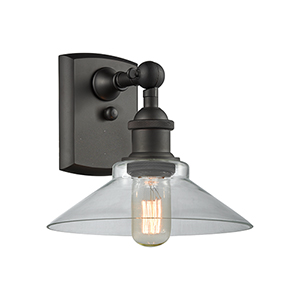 Disc Oiled Rubbed Bronze One-Light Wall Sconce with Clear Cone Glass
