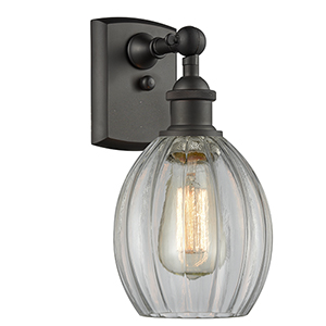 Eaton Oiled Rubbed Bronze One-Light Wall Sconce with Clear Fluted Sphere Glass