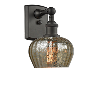 Fenton Oiled Rubbed Bronze LED Wall Sconce with Mercury Fluted Sphere Glass