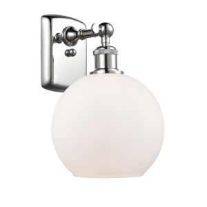 Ballston Polished Chrome Eight-Inch LED Wall Sconce with Matte White Glass Shade