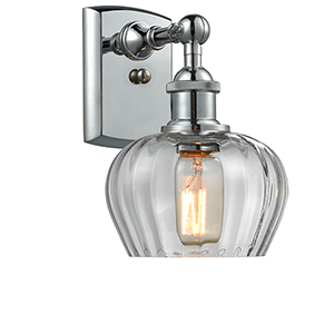 Fenton Polished Chrome One-Light Wall Sconce with Clear Fluted Sphere Glass