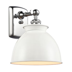 Ballston Polished Chrome Eight-Inch One-Light Wall Sconce with Glossy White Metal Shade
