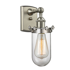 Kingsbury Brushed Satin Nickel One-Light Wall Sconce with Clear Globe Glass