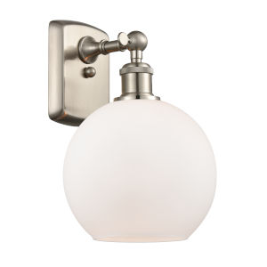 Ballston Brushed Satin Nickel Eight-Inch One-Light Wall Sconce with Matte White Glass Shade