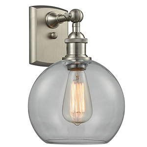 Athens Brushed Satin Nickel LED Wall Sconce with Clear Globe Sphere Glass