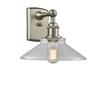 Disc Brushed Satin Nickel LED Wall Sconce with Clear Cone Glass