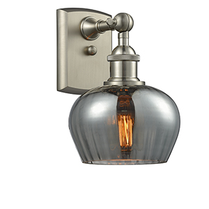 Fenton Brushed Satin Nickel One-Light Wall Sconce with Smoked Fluted Sphere Glass
