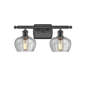 Fenton Matte Black Two-Light Bath Vanity with Clear Glass