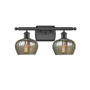 Fenton Matte Black Two-Light LED Bath Vanity with Mercury Glass