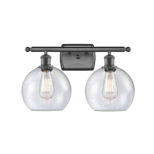 Ballston Oil Rubbed Bronze 16-Inch Two-Light Bath Vanity with Seedy Glass Shade