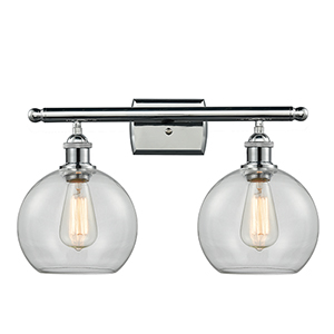 Athens Polished Chrome Two-Light Bath Vanity with Clear Globe Sphere Glass