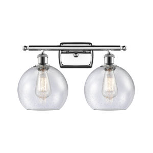 Ballston Polished Chrome 16-Inch Two-Light LED Bath Vanity with Seedy Glass Shade