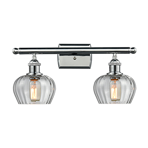 Fenton Polished Chrome Two-Light Bath Vanity with Clear Fluted Sphere Glass
