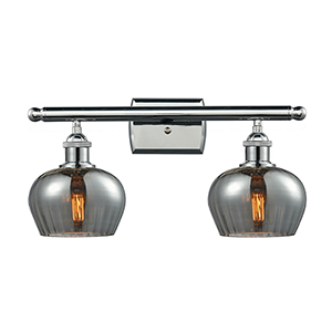 Fenton Polished Chrome Two-Light LED Bath Vanity with Smoked Fluted Sphere Glass