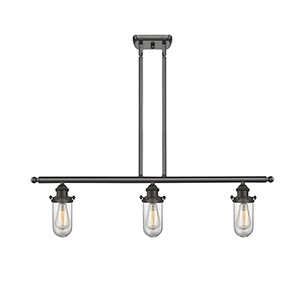 Kingsbury Oiled Rubbed Bronze Three-Light LED Island Pendant with Clear Globe Glass