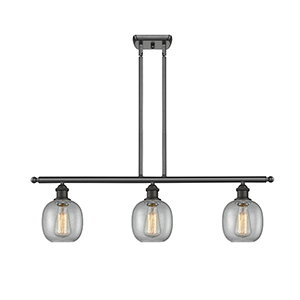 Belfast Oiled Rubbed Bronze Three-Light Island Pendant with Clear Seedy Sphere Glass