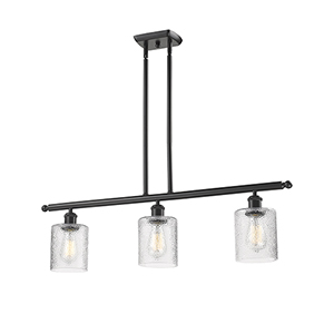 Cobbleskill Oiled Rubbed Bronze Three-Light Island Pendant with Clear Ripple Drum Glass