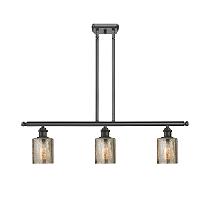 Cobbleskill Oiled Rubbed Bronze Three-Light LED Island Pendant with Mercury Drum Glass