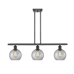 Athens Oiled Rubbed Bronze Three-Light LED Island Pendant with Clear Globe Sphere Glass