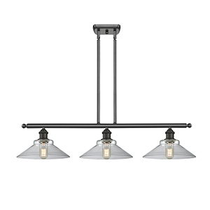 Disc Oiled Rubbed Bronze Three-Light Island Pendant with Clear Cone Glass