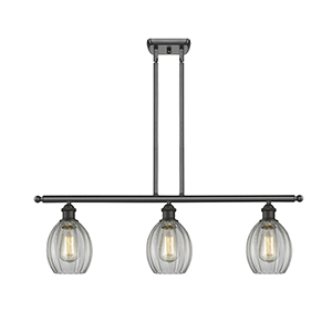 Eaton Oiled Rubbed Bronze Three-Light Island Pendant with Clear Fluted Sphere Glass