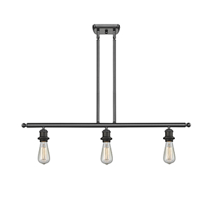 Bare Bulb Oiled Rubbed Bronze Three-Light Island Pendant
