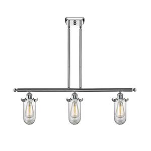 Kingsbury Polished Chrome Three-Light LED Island Pendant with Clear Globe Glass