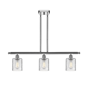 Cobbleskill Polished Chrome Three-Light LED Island Pendant with Clear Ripple Drum Glass