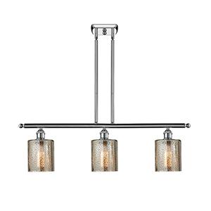 Cobbleskill Polished Chrome Three-Light LED Island Pendant with Mercury Drum Glass